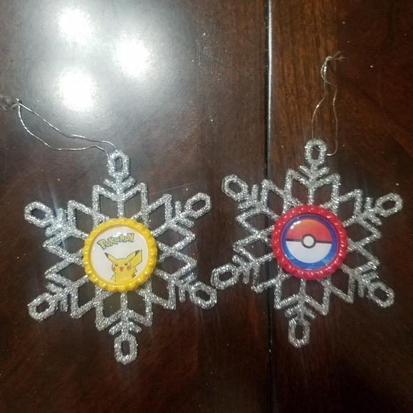 Pokemon Bottle Cap Snowflake Ornaments